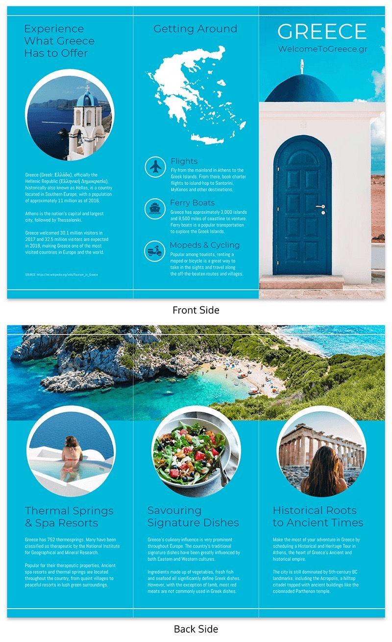 Creative Blue Travel Tri Fold Brochure Template