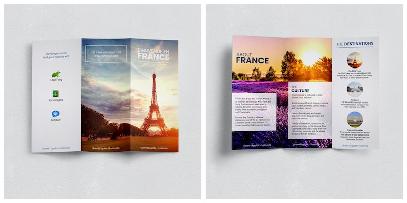 France Photo Travel Trifold Brochure Template