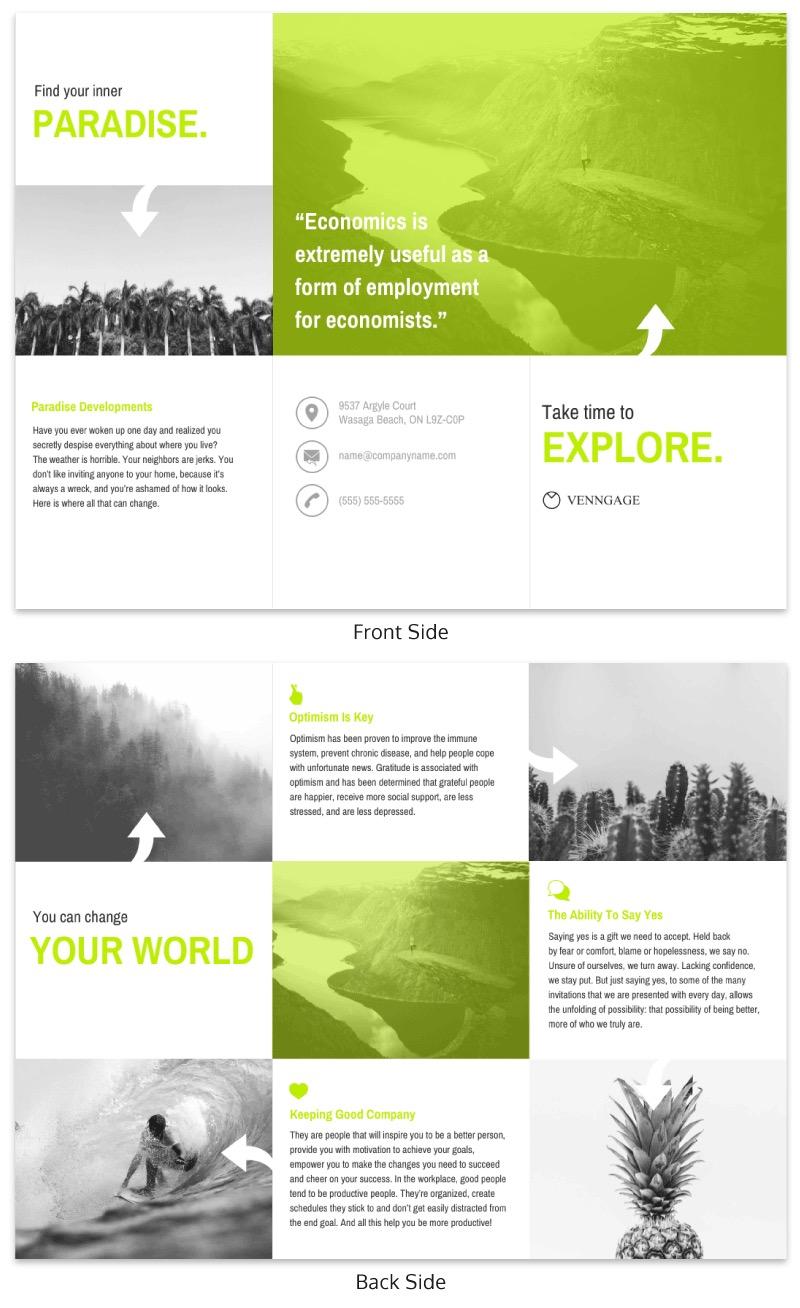 Green Explore Travel Trifold Brochure