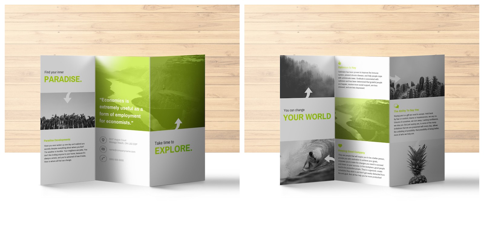 Green Explore Travel Trifold Brochure