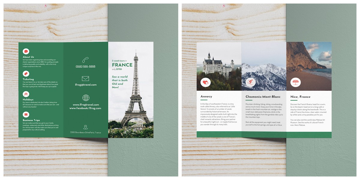 Green France Travel Trifold Brochure Template