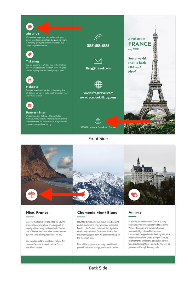 Green Tri Fold Travel Brochure Template