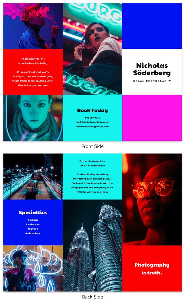 Neon Photography Trifold Brochure Template