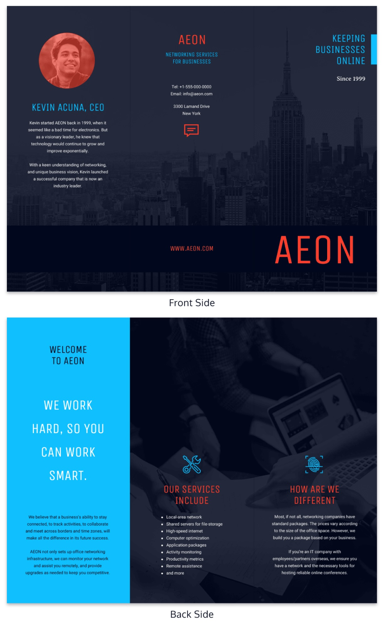 Simple Blue Business Trifold Template