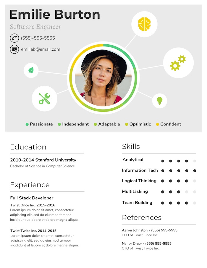 Simple Creative Infographic Resume Design Template