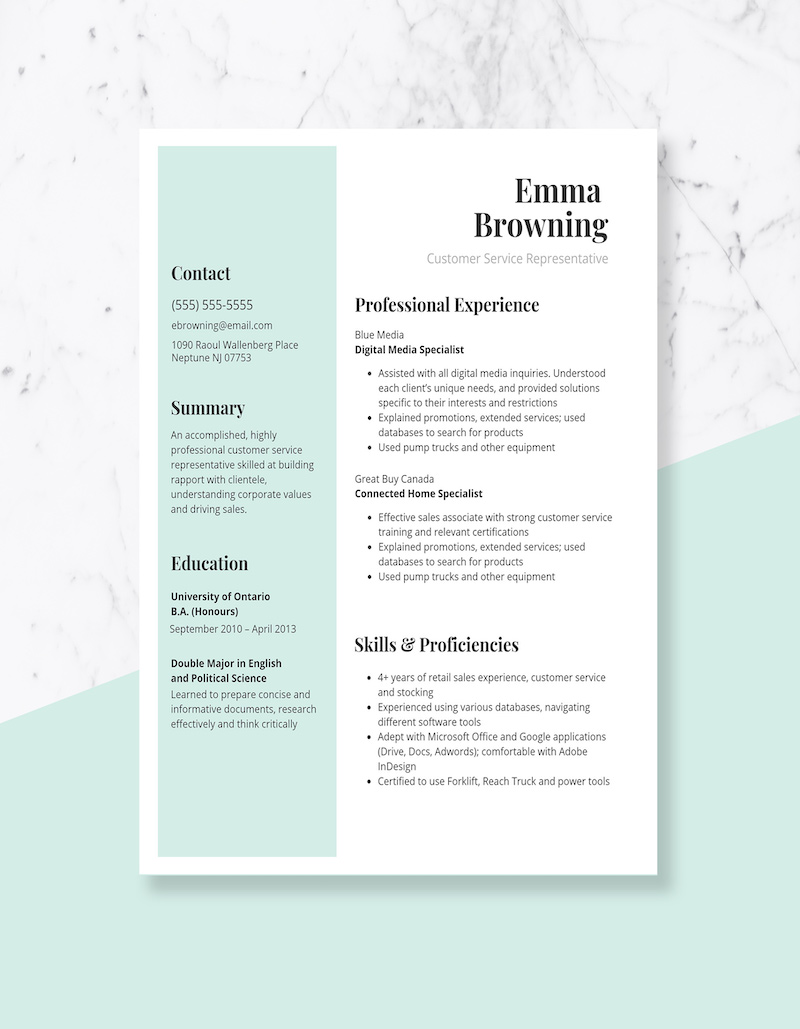 Simple Green & White Customer Service Resume Template3