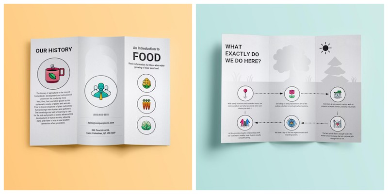 Simple White Food Trifold Brochure Templates
