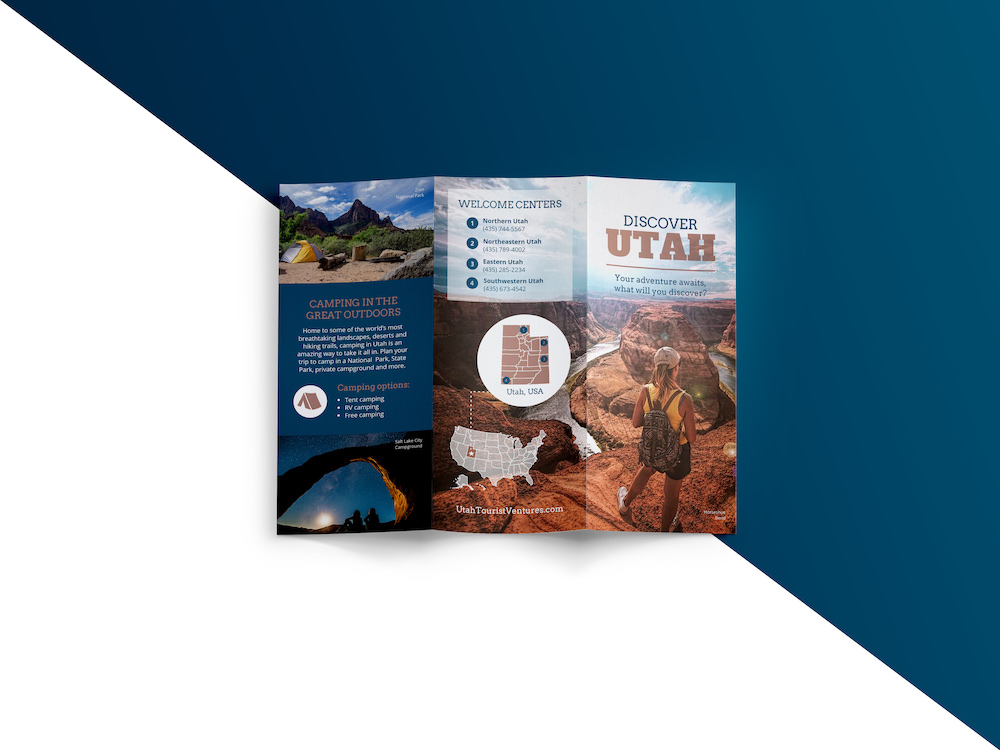 Utah Creative Travel Trifold Brochure Template
