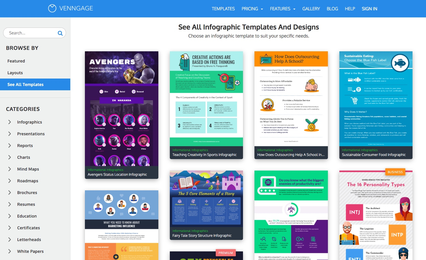Venngage Templates Page