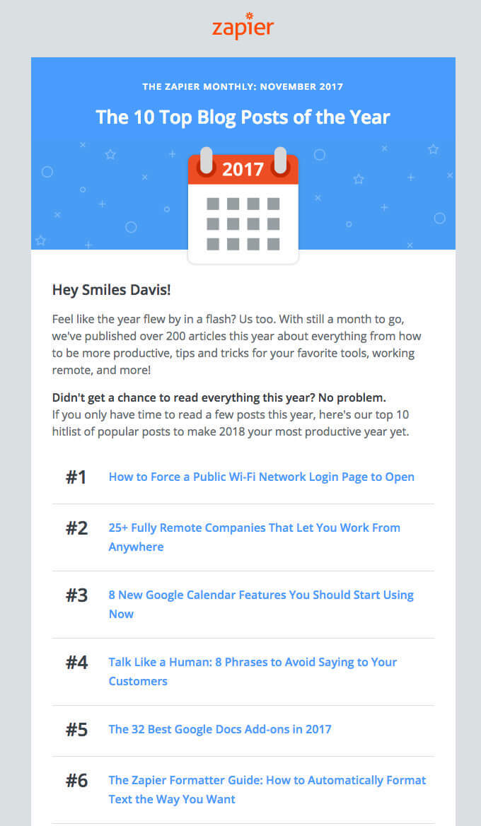 Zapier Marketing Email Newsletter Template