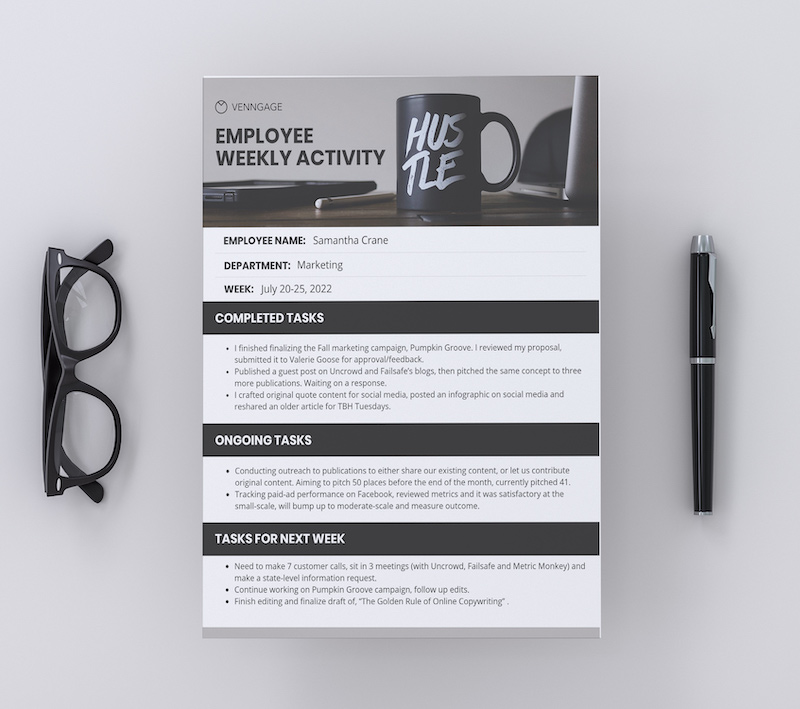 Employee Weekly Activity Business Report Template