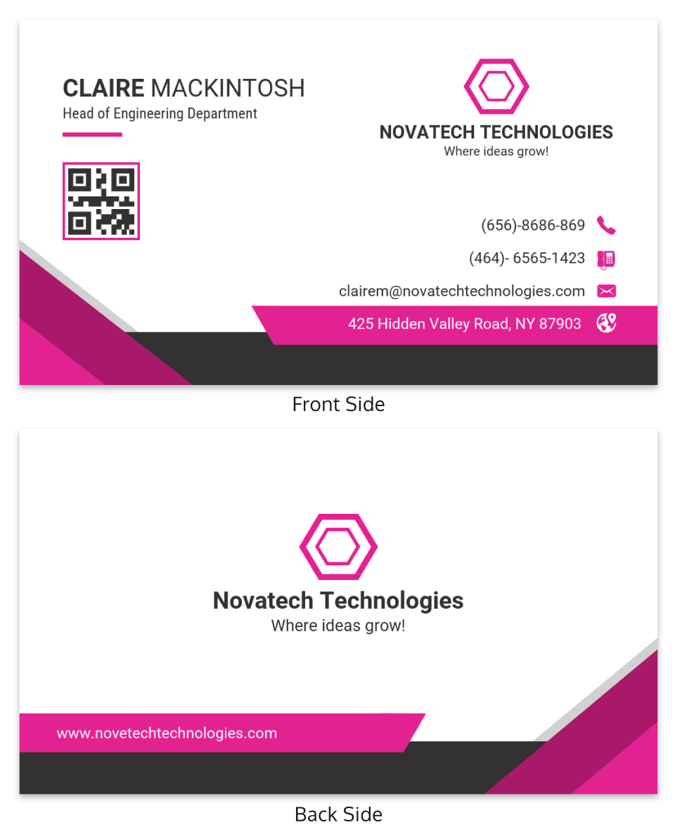 Pink Technology Professional Business Card