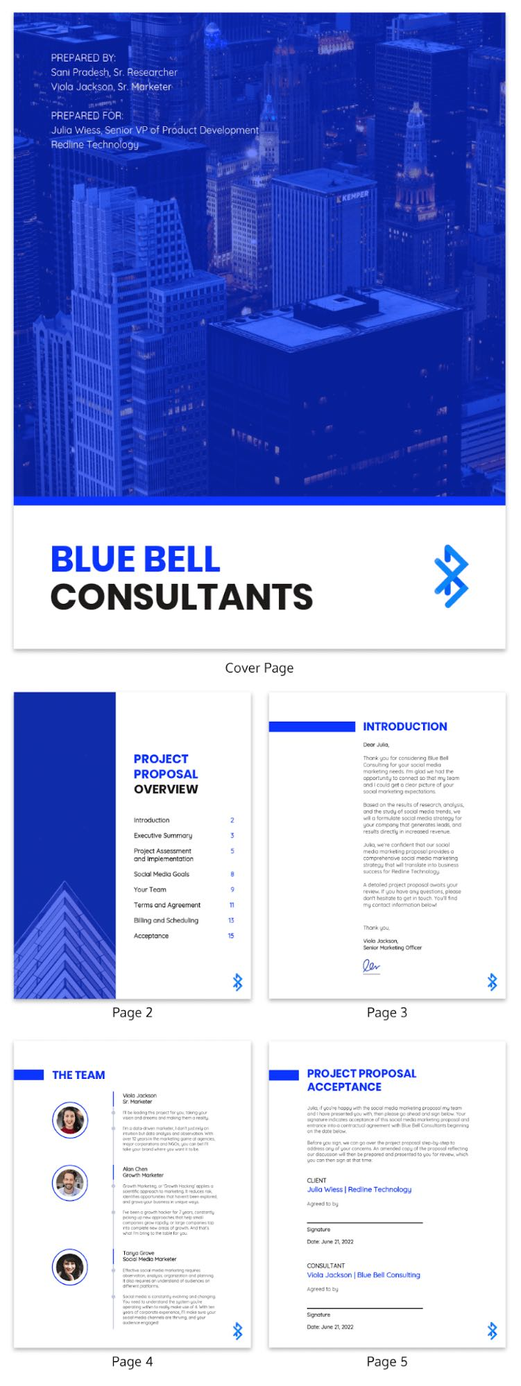 Blue Consulting Proposal Template Venngage