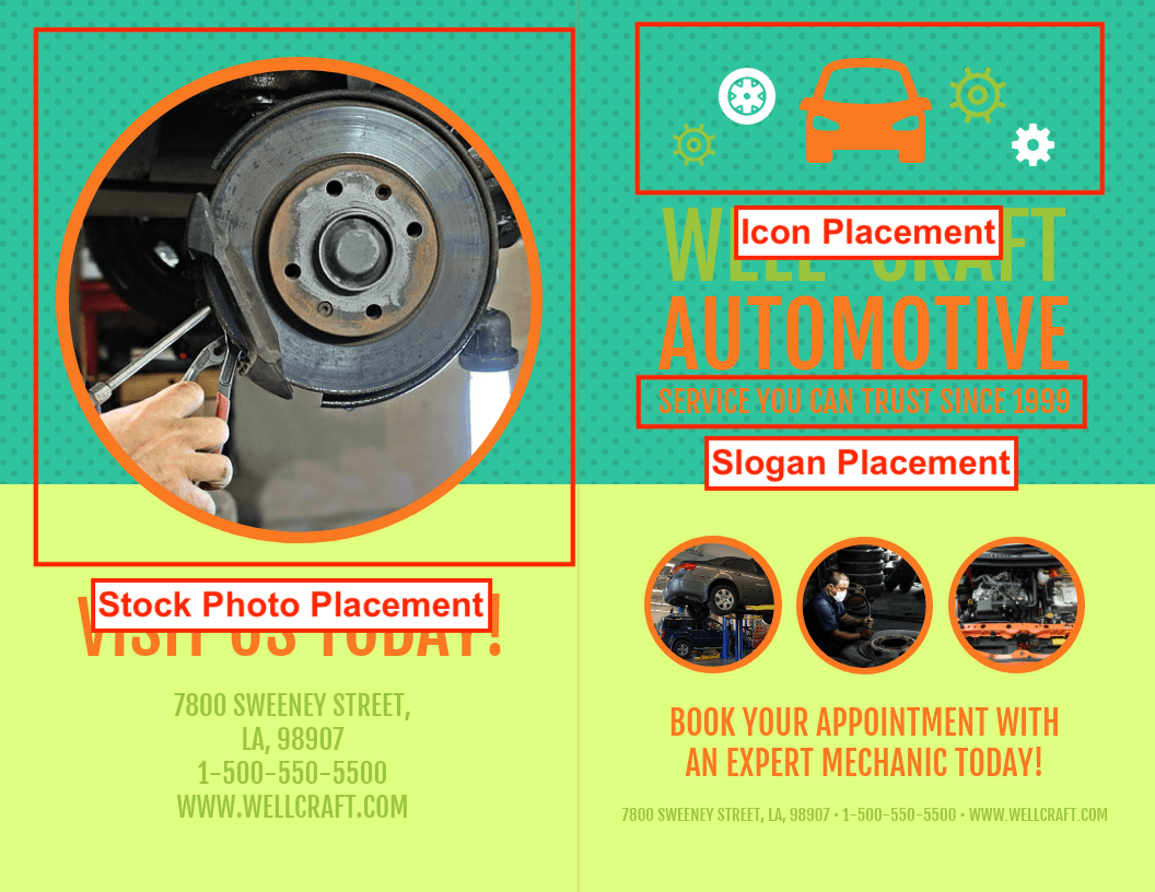 Auto-Repair Bi-Fold Brochure Template Example