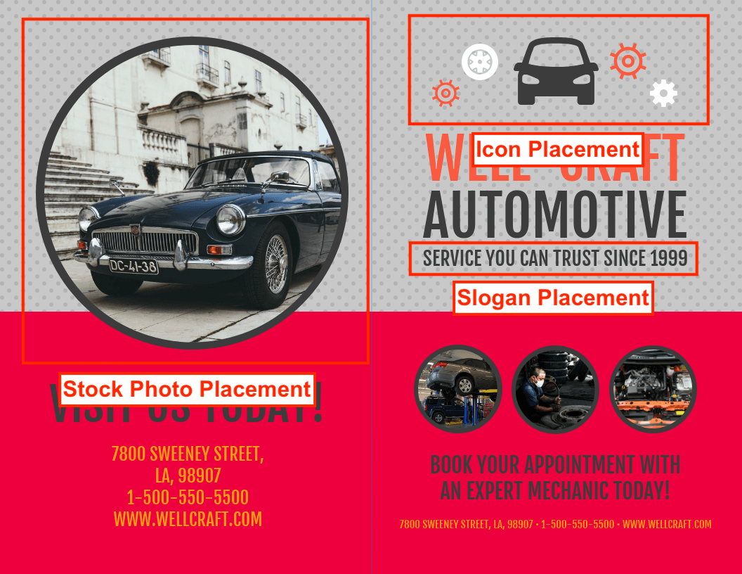 Auto-Repair Bi-Fold Brochure Template Design Example