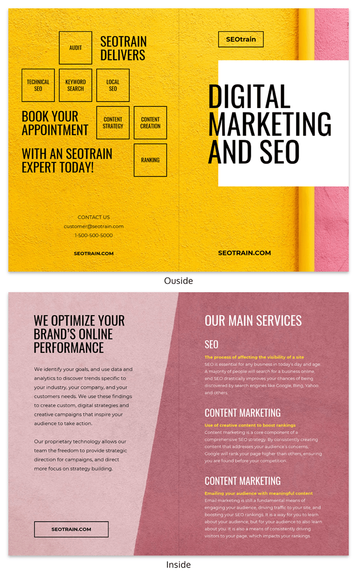 Digital Marketing SEO Bi-Fold Brochure Template