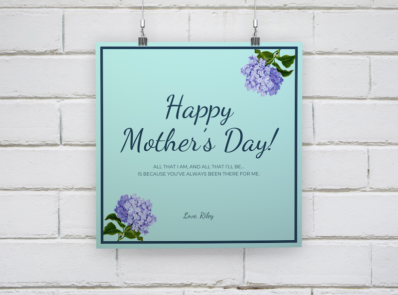 Blue Floral Mother's Day Card Template1