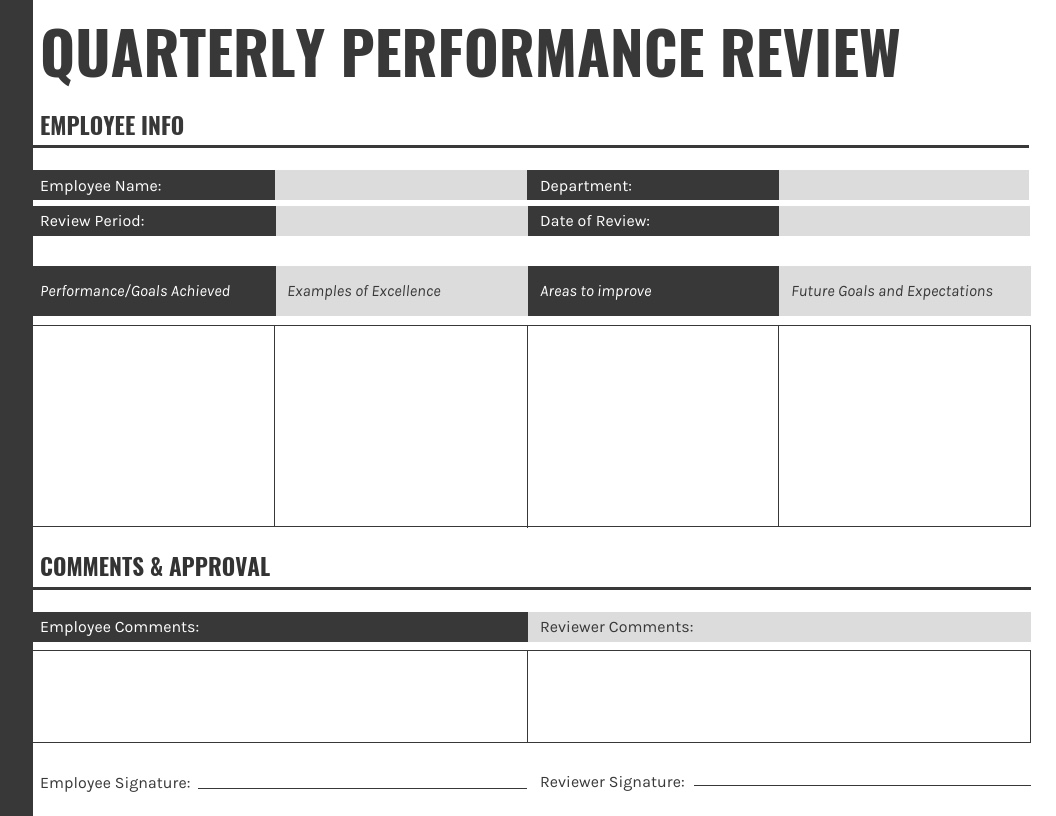 Gray-Landscape-Quarterly-Performance-Review-Template Quarterly Performance Summary Examples on report sample templates, review form, review format, review template examples, splits quarter date, report format, review sample,