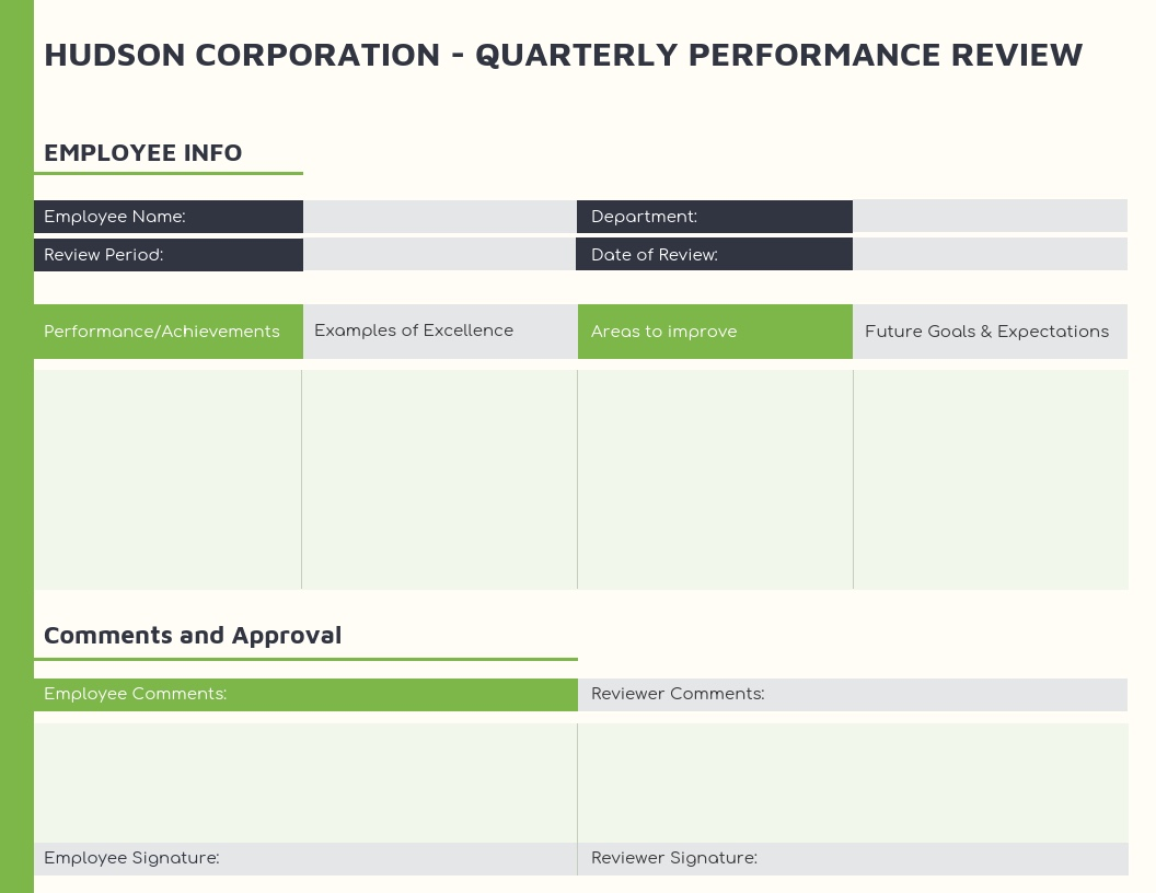 Green-Employee-Quarterly-Performance-Review-Template Quarterly Performance Summary Examples on report sample templates, review form, review format, review template examples, splits quarter date, report format, review sample,