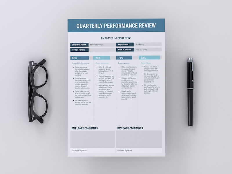 Quarterly-Review-Black_Blue2 Quarterly Performance Summary Examples on report sample templates, review form, review format, review template examples, splits quarter date, report format, review sample,