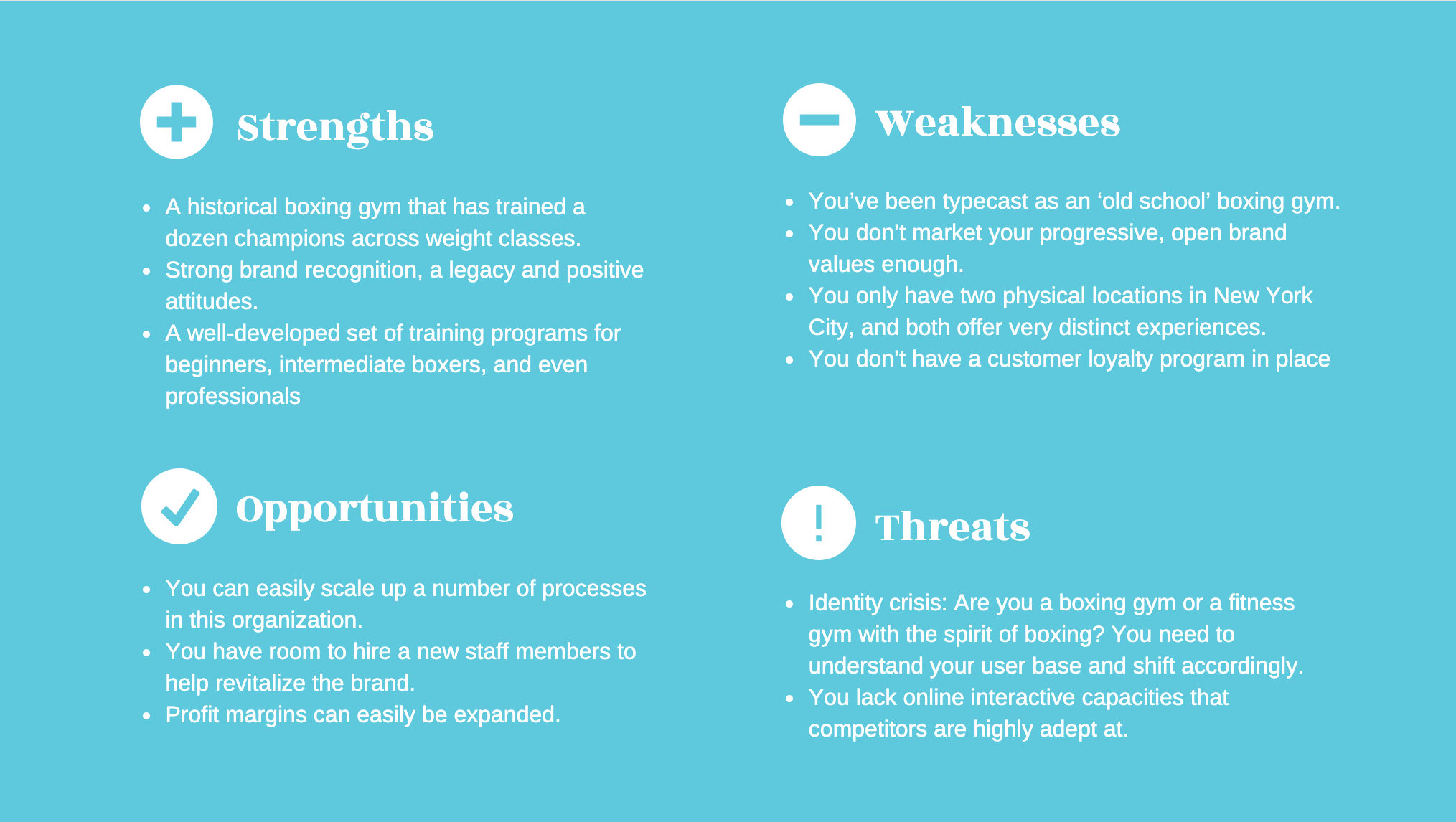 SWOT analysis template blue grid