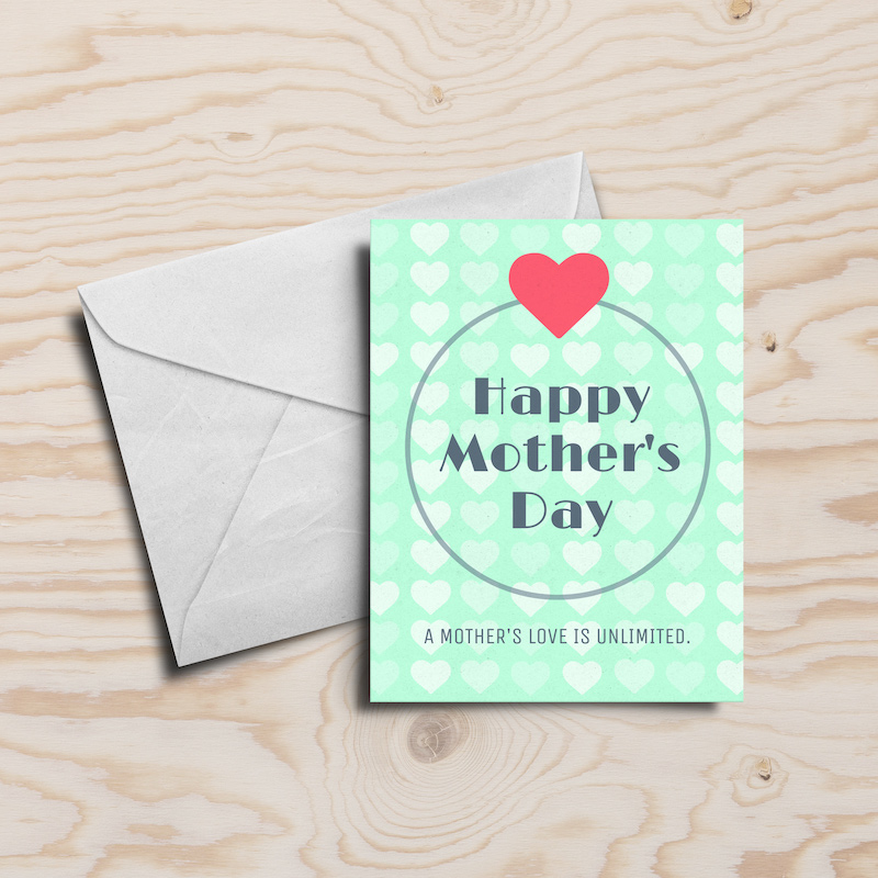Simple Green Mother's Day Card Template
