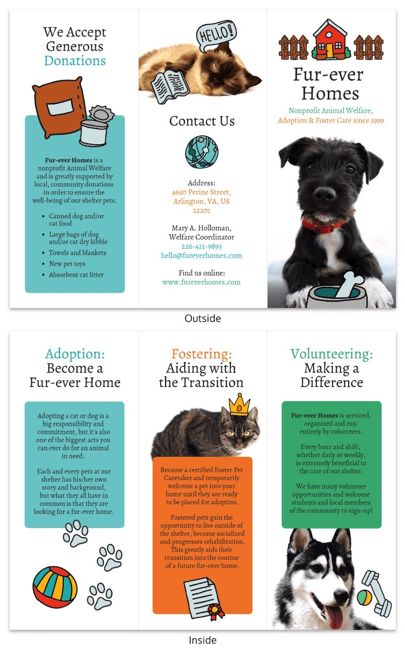 Animal Rescue Tri Fold Brochure Template