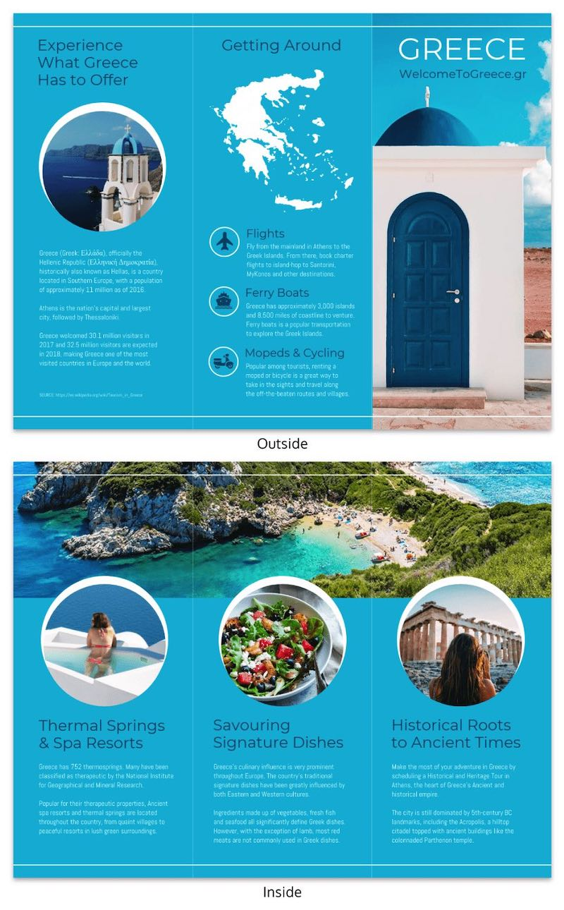 Blue World Travel Tri Fold Brochure Templates