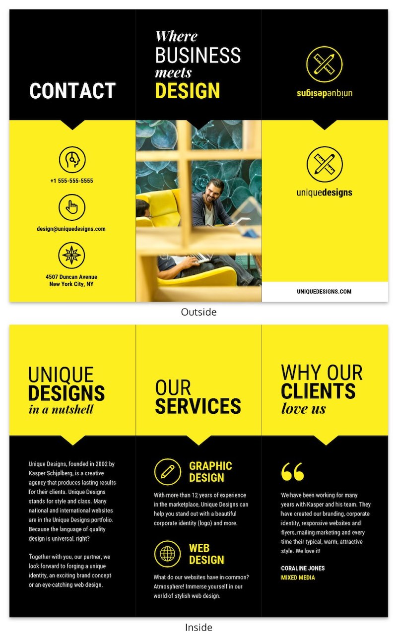Bold Yellow Modern Tri Fold Brochure Template