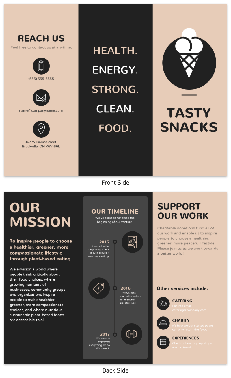 Brown Restaurant Marketing Brochure Templates