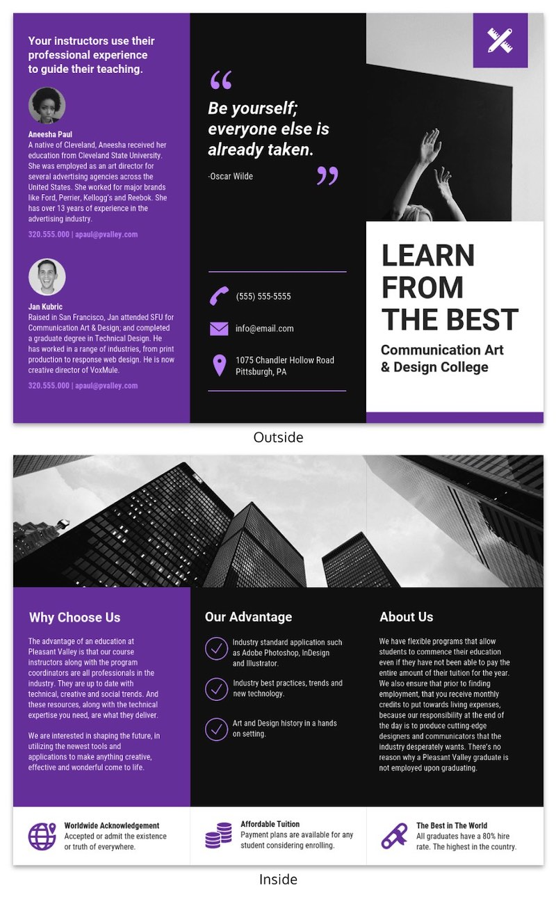 College Marketing Tri Fold Brochure Template