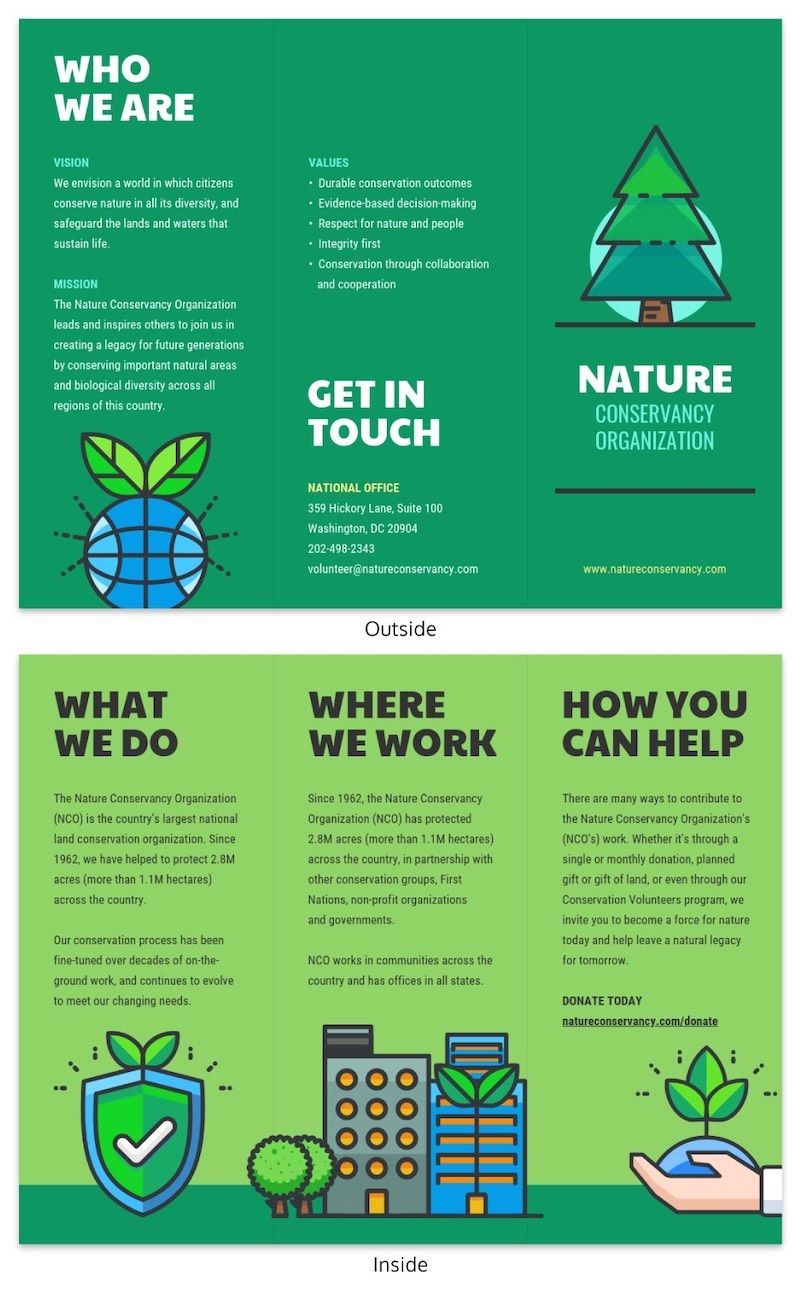 Green Creative Nature Tri Fold Brochure Template