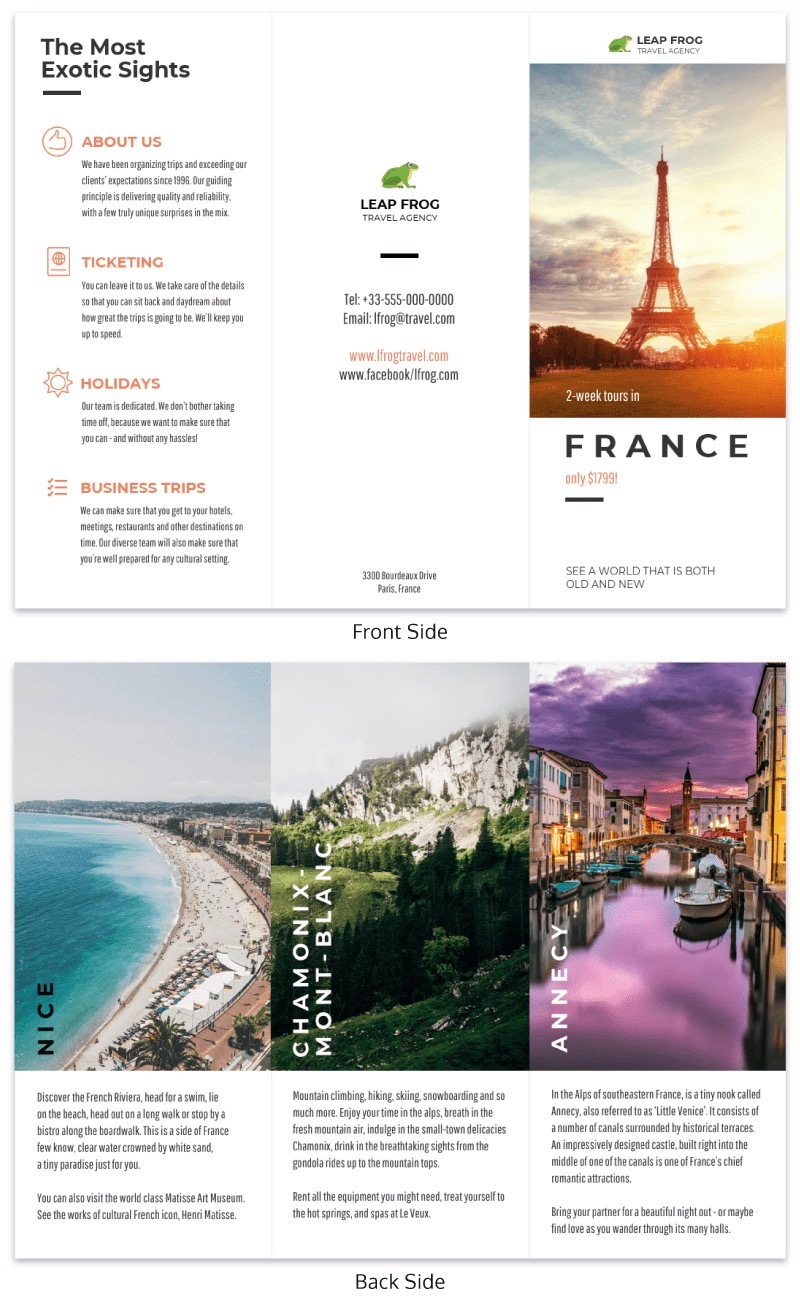 Simple Travel Tri Fold Brochure Template