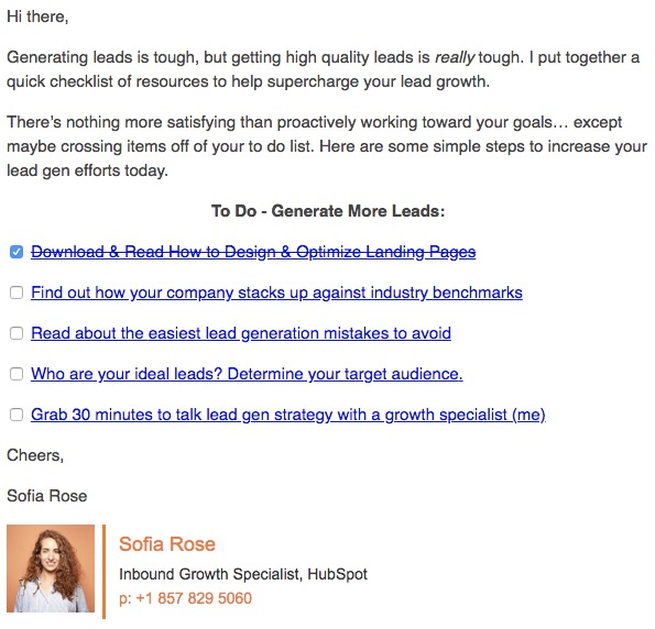 State of Lead Generation Email Example 2