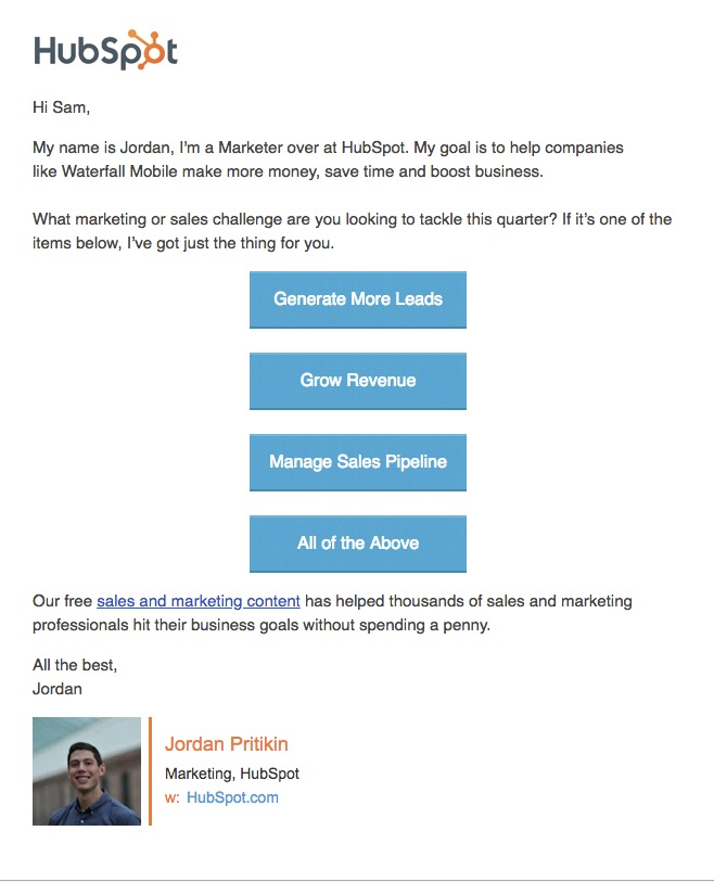 State of Lead Generation Email Example