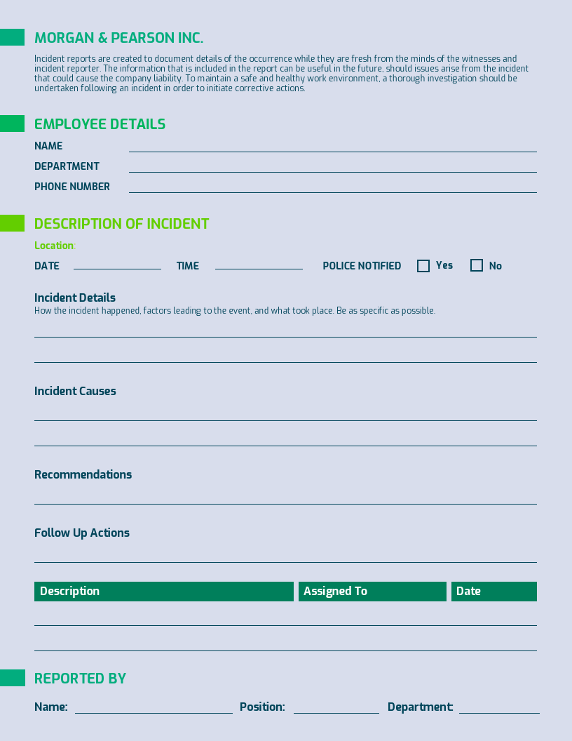 Gray Incident Report Template