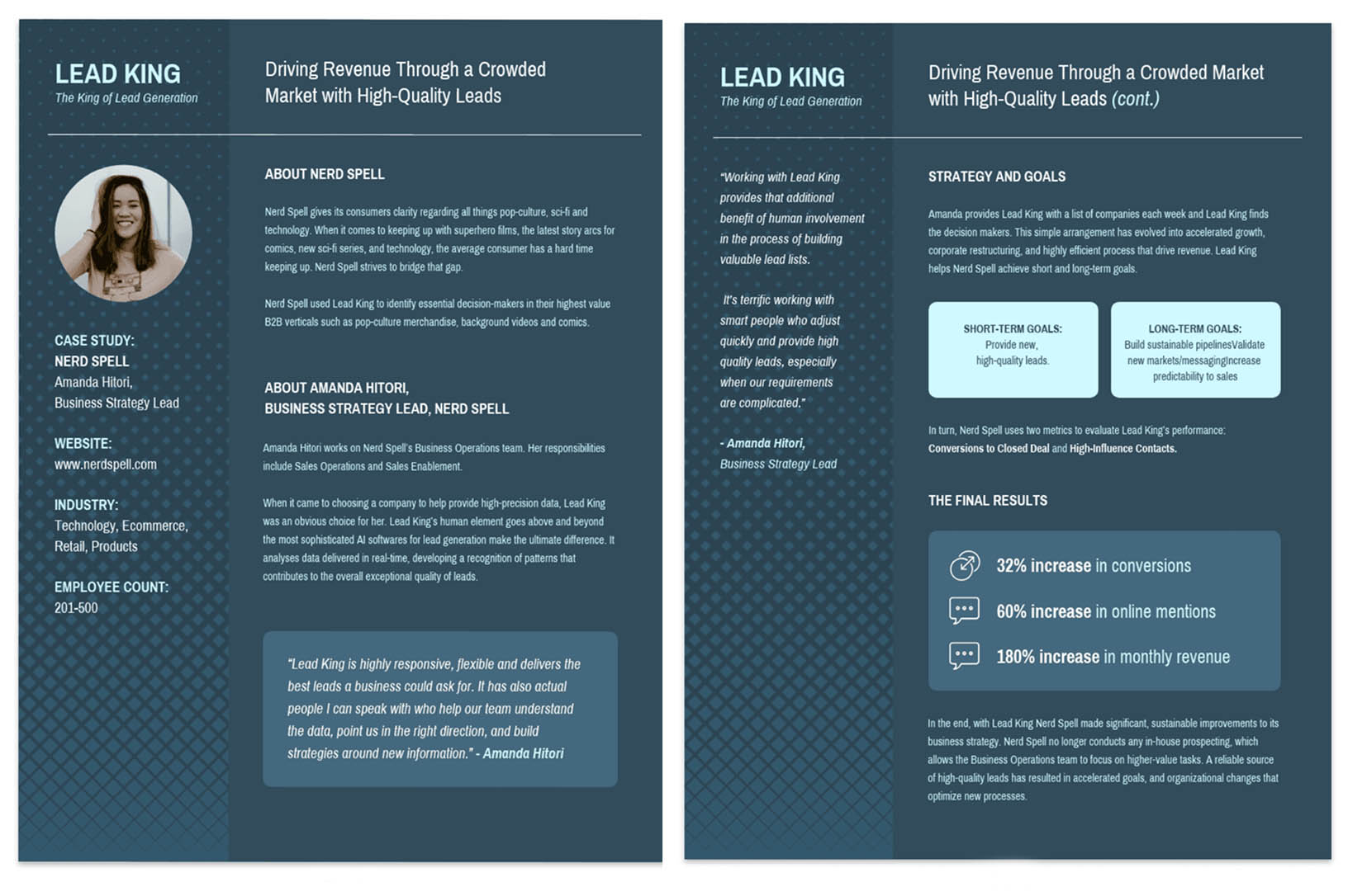 Lead generation business case study template