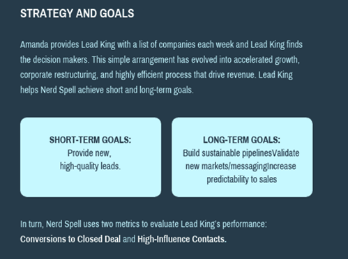 Lead generation case study example short term goals
