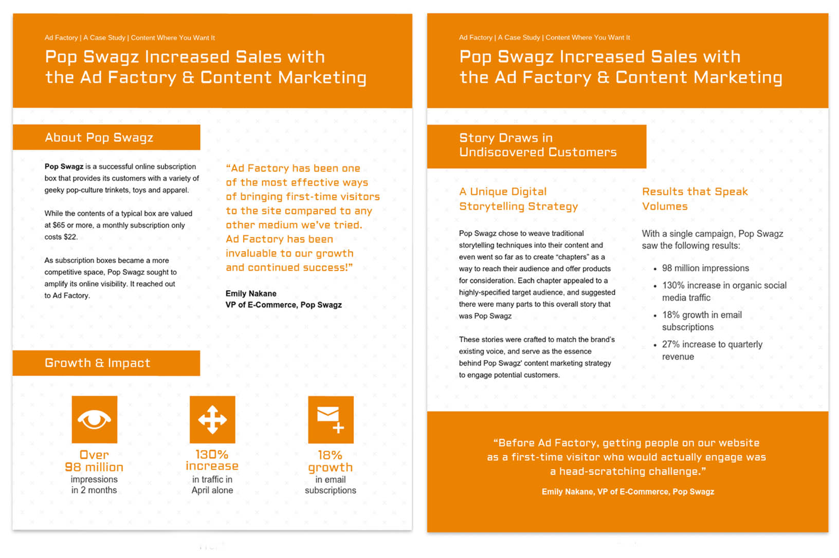 Orange Content Marketing Case Study Template