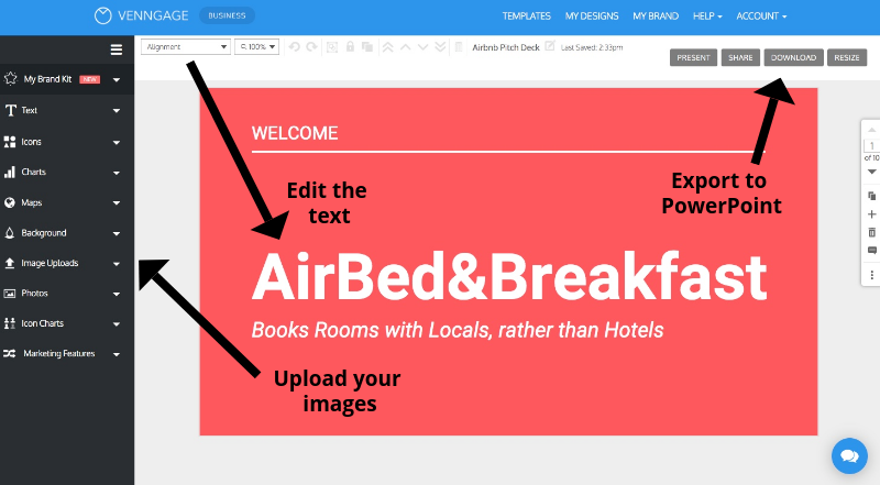 airbnb presentation template venngage