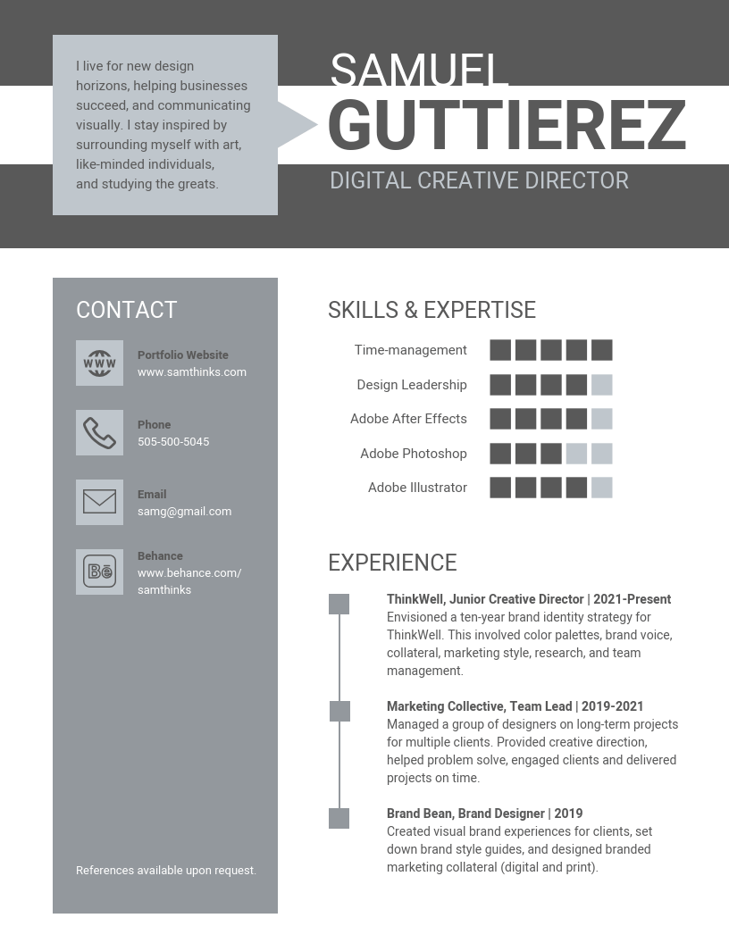 Grey infographic resume template
