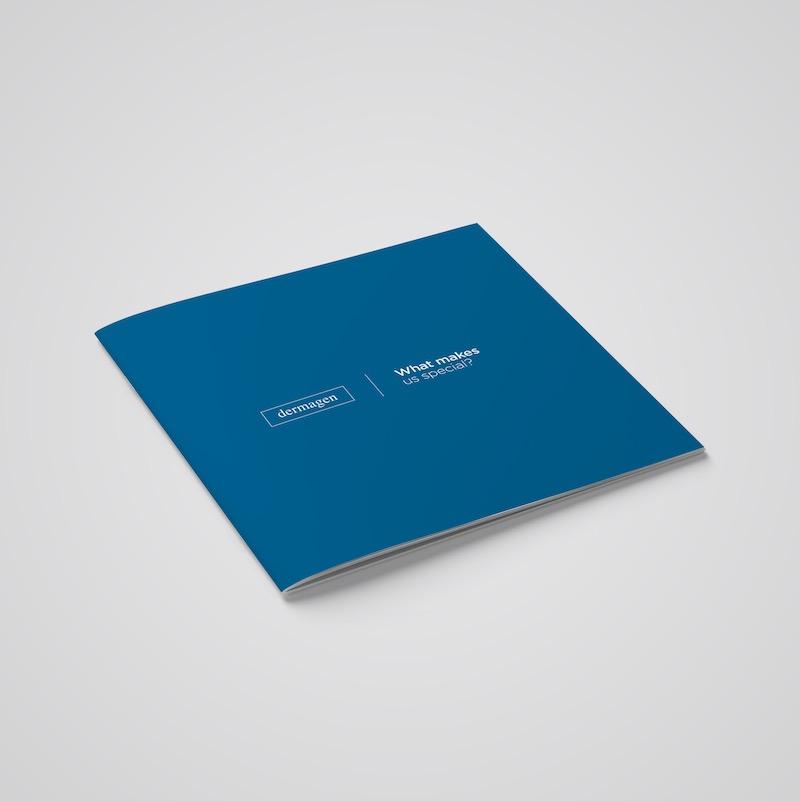 Blue Dermagen Brochure Exterior Cover Example
