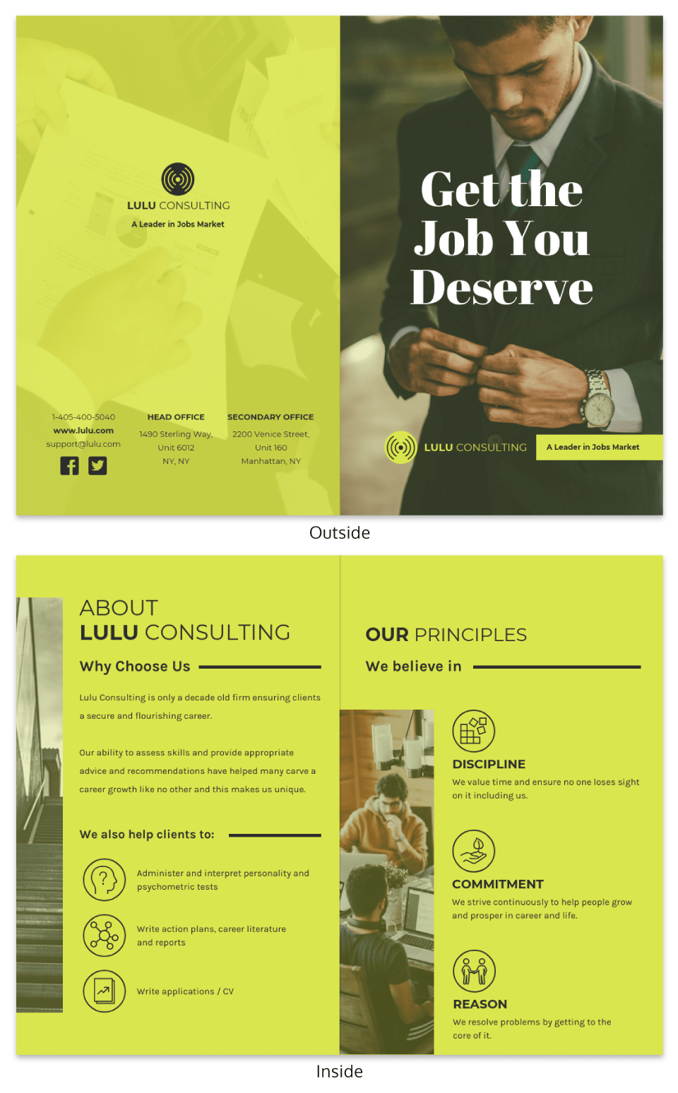 Bright Marketing Consultant Bi Fold Brochure Design