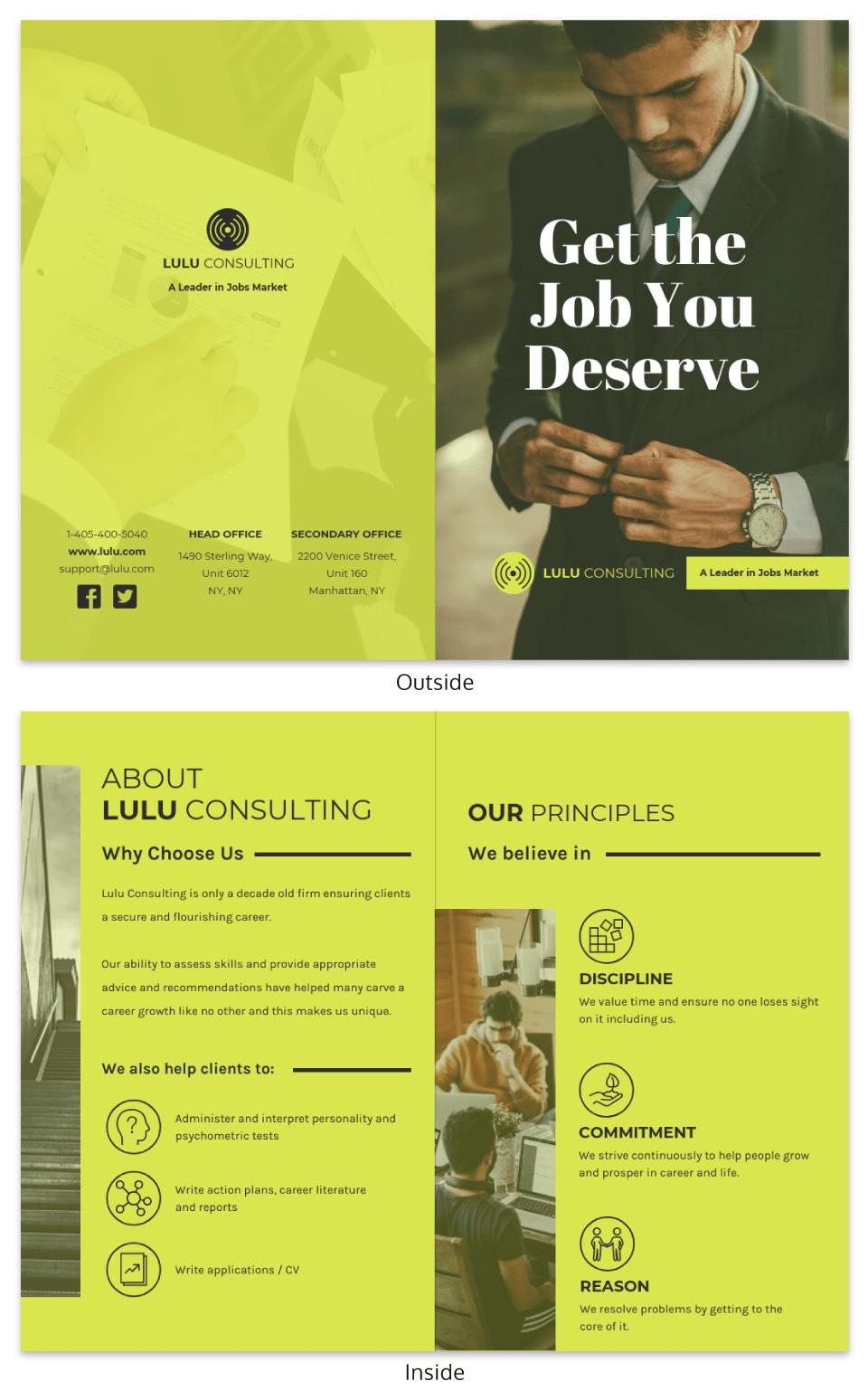 Bright Marketing Consultant Bi Fold Brochure Template Example