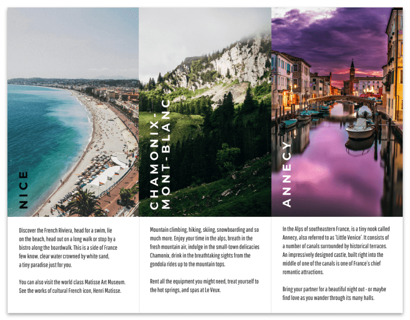Destination Travel Tri Fold Brochure Template with 3 panels
