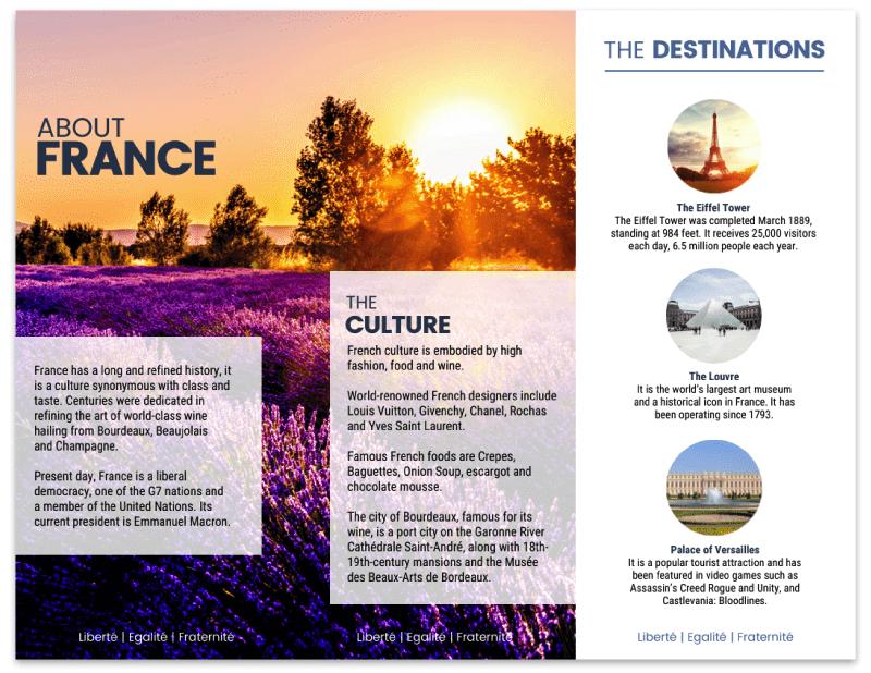 France Purple Meadows Travel Tri Fold Brochure Template