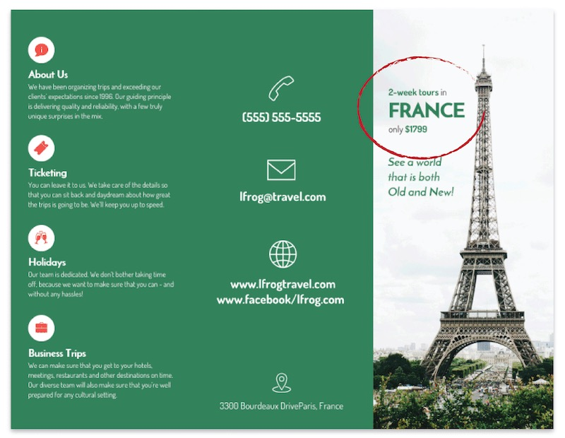 Green France Tri Fold Travel Brochure Template