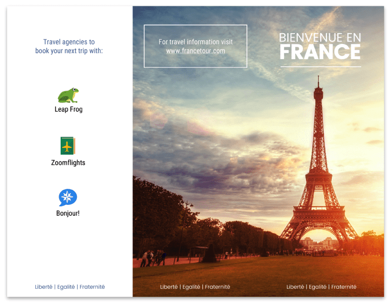 France Travel Agency Tri Fold Brochure Template and Example
