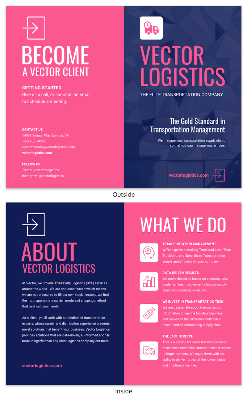 Magenta Business Bi Fold Brochure Design