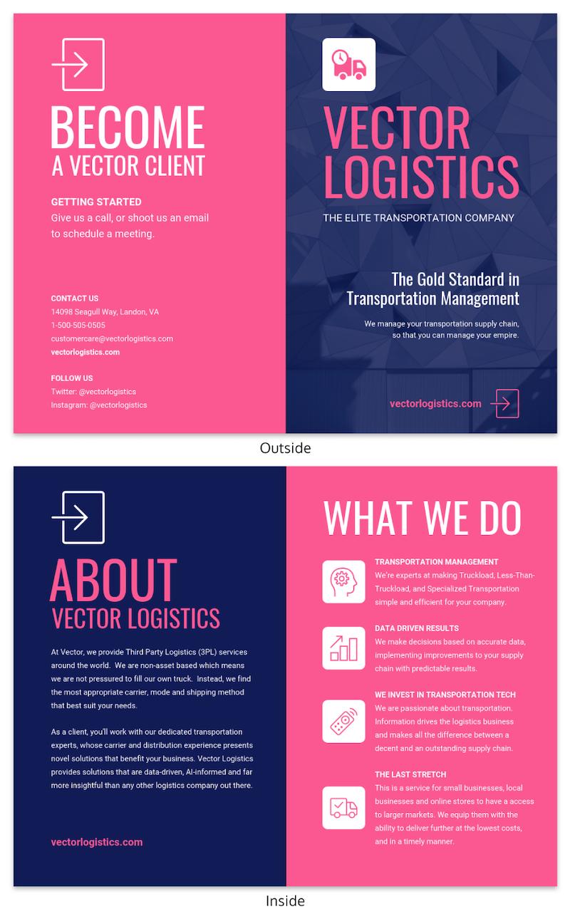 Magenta Business Bi Fold Brochure Template
